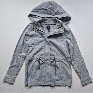 GAP | White and blue striped hooded field jacket